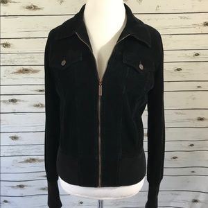 Juicy Couture Women's Corduroy Black Bomber Jacket